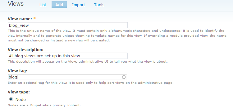 Enable the blog module and create view