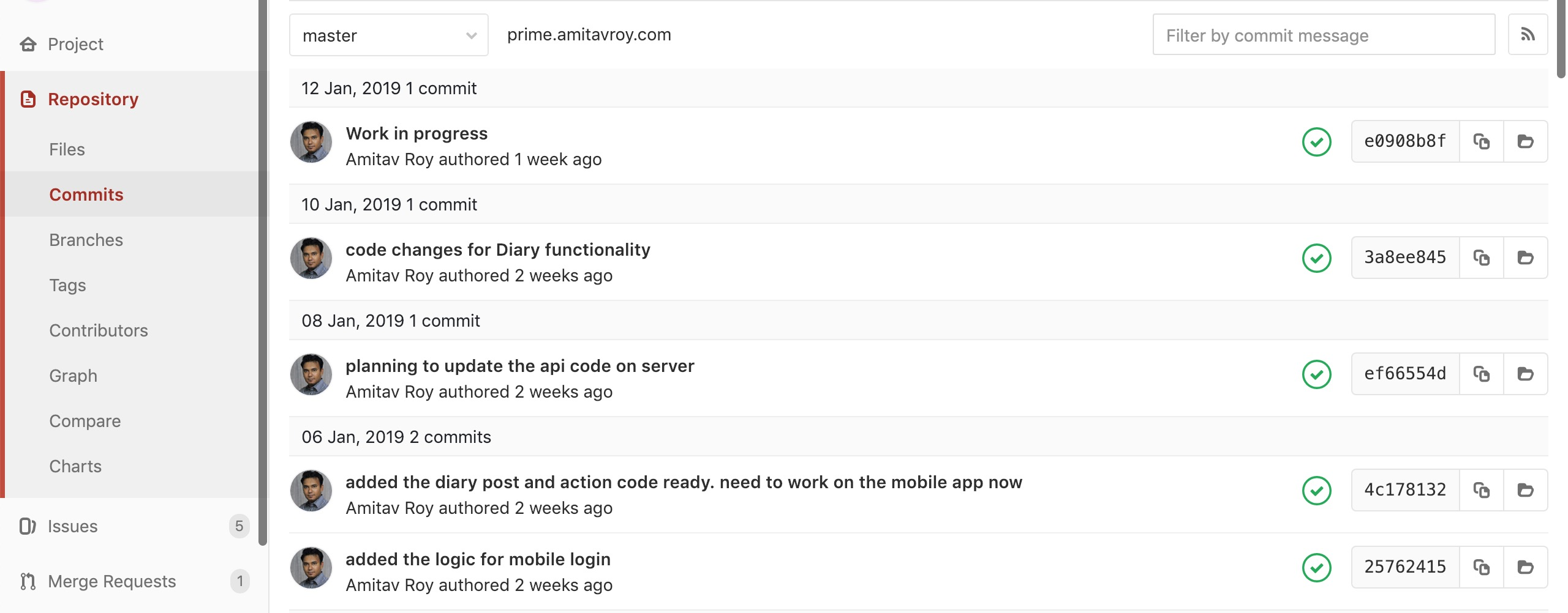 Gitlab Commits